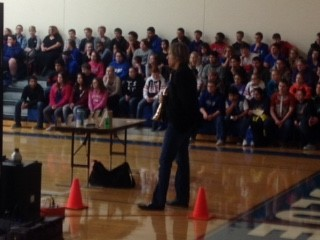 David Wells speaking to WMS students during character ed on 11/29/16