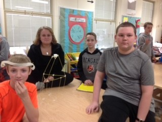 8th grade Students winning Marshmallow Challenge structure