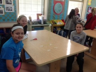 6th Grade students winning marshmallow challenge structure