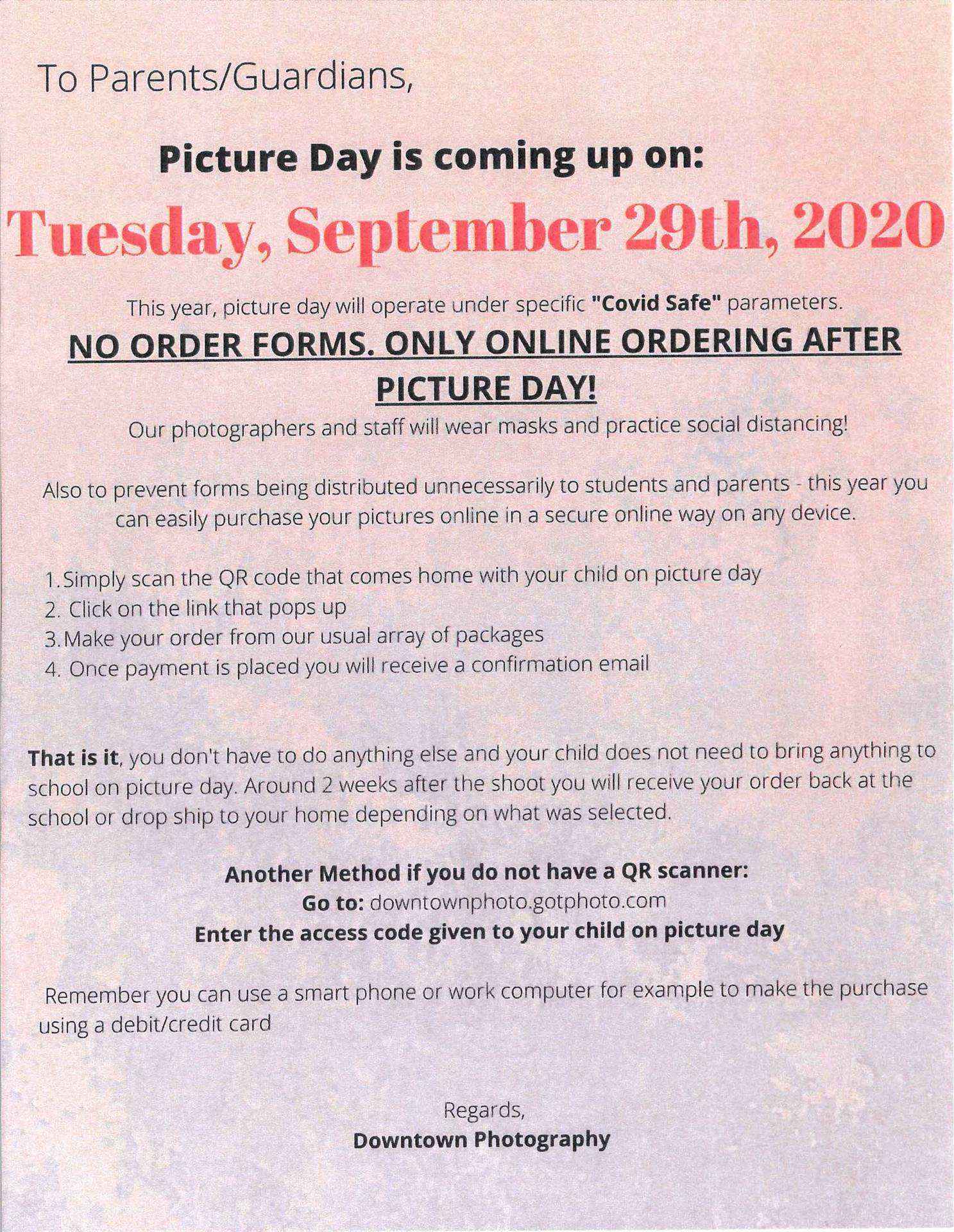 BA Picture Day Notice to Parents